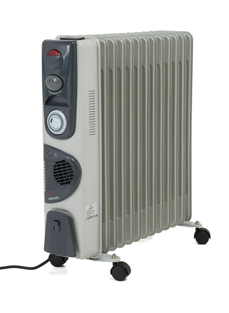 Oil Filled Heater 2500w Me Ofh1007ft White Grey Mebashi